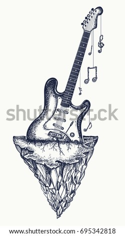 Guitar And Mountains Tattoo T Shirt Design Electro Has Grown Into Rock