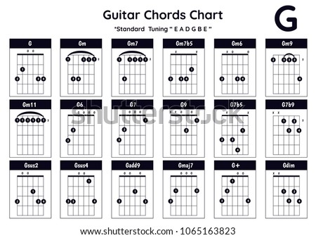 Guitar Chords G Gm Gm 7 Gm 7 B 5 Stock Vector 1065163823 - Shutterstock