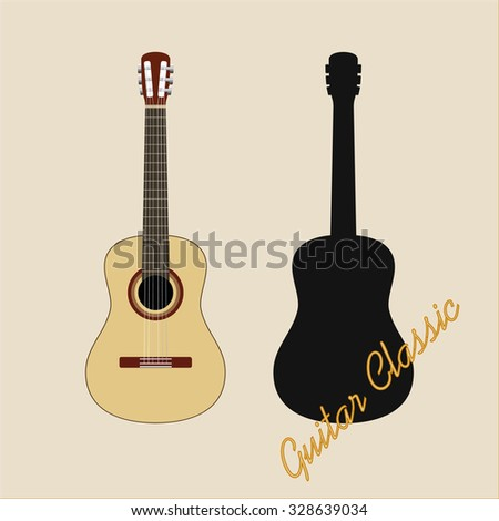 Guitar Classic with black shape vector illustration