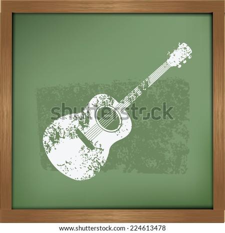 Guitar design on blackboard background,vector - stock vector