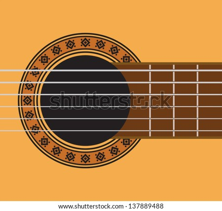 guitar detail - guitar sound hole - stock vector