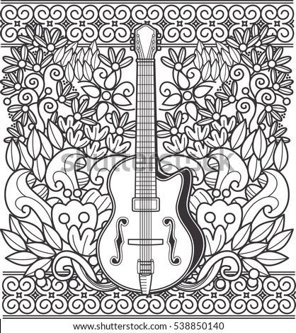 Guitar Doodle Art Stock Vector 538850140 - Shutterstock