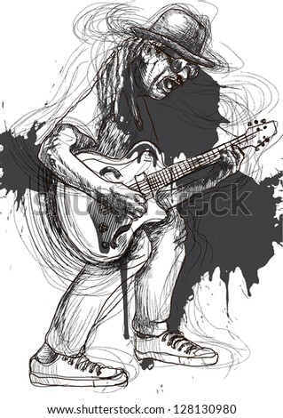 Guitar experience, guitarist in expressive outlines and grungy spots. /// Vector description: contours in shades of gray and black, editable in 6 layers. - stock vector