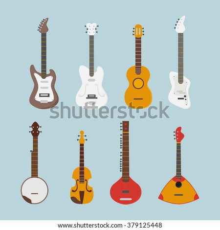Guitar flat set. Vector icons.