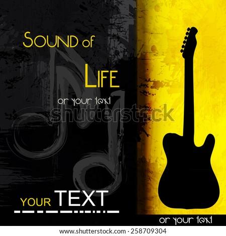 guitar grunge music background,  easy all editable - stock vector