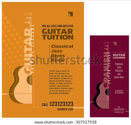 Guitar School Lessons Poster Acoustic