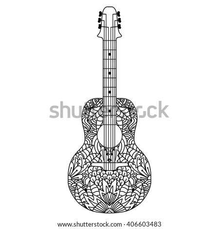 Guitar Hand Drawn Ethnic Patterned In Doodle Zentangle Style Coloring Book Page For