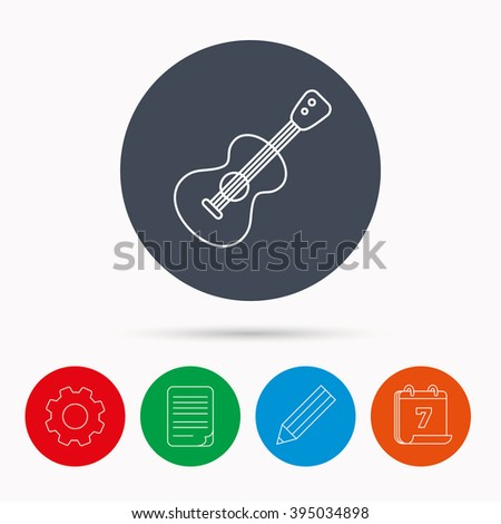 Guitar icon. Musical instrument sign. Band guitarist symbol. Calendar, cogwheel, document file and pencil icons. - stock vector