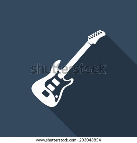 guitar icon with long shadow - stock vector