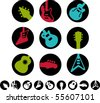 guitar icons and white versions - vector - stock vector