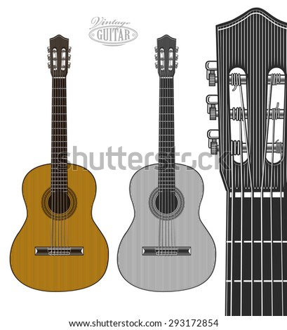 Guitar in engraving style.  Vector illustration isolated grouped, transparent background - stock vector