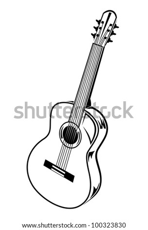Guitar isolated on white background. Jpeg version also available in gallery - stock vector