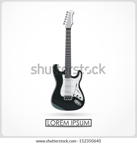 guitar isolated on white. vector - stock vector