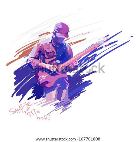 guitar man vector - stock vector