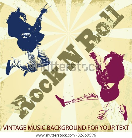 Guitar master jumping and playing rock. Vintage vector background - stock vector