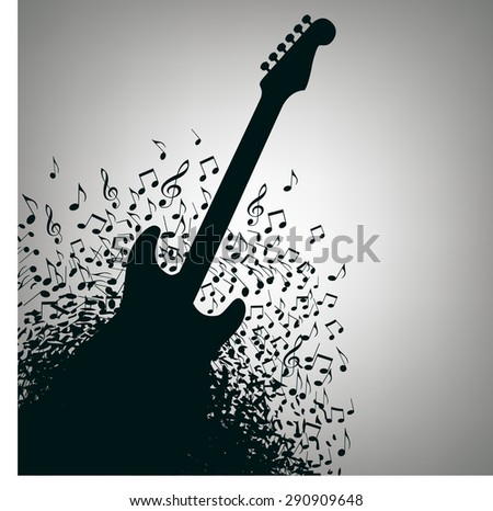 Guitar Music Concert Poster Layout Template with notes - stock vector