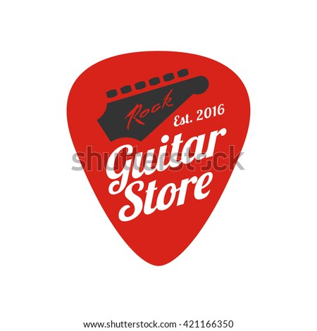 Guitar, music store vector logo, emblem, icon, sign. Graphic illustration, design element of guitar neck and fingerboard
