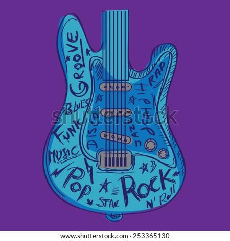 Guitar music typography, t-shirt graphics, vectors - stock vector