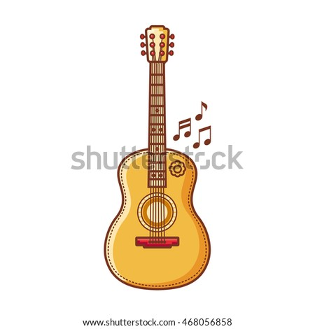 Guitar. Musical instrument for kid. Baby toy. Cartoon style. Vector