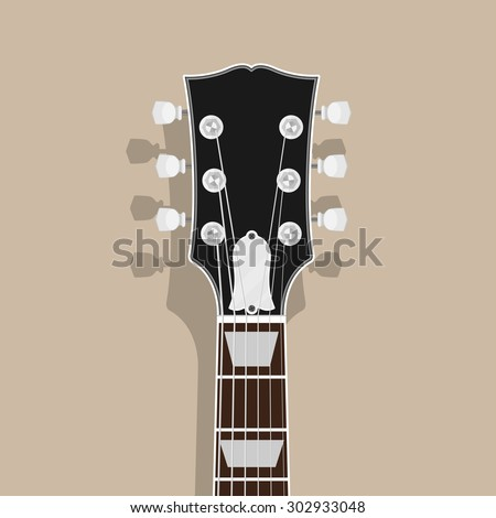 guitar neck head with shadow, flat style illustration, rock, blues concept - stock vector