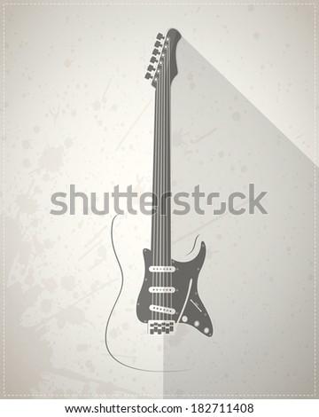 Guitar on grunge background - stock vector