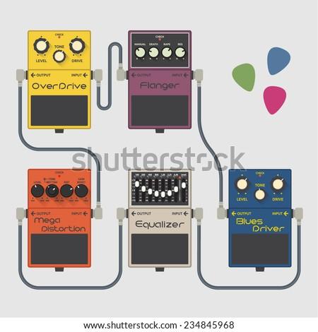 Guitar pedals vector set - stock vector