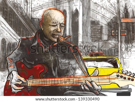 Guitar player  - A hand drawn illustration of an musician playing guitar on the street - Hand drawing converted into vector (7 layers). - stock vector