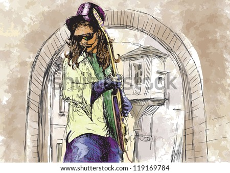 Guitar player - Dude with a cigarette. Description: Editable in ten layers. Number of colors in each layer: no more than sixteen. White color is excluded. - stock vector