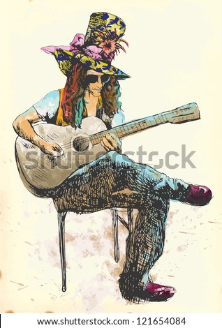 Guitar player - Eccentric with a colored hat. Hand drawing into vector. - stock vector
