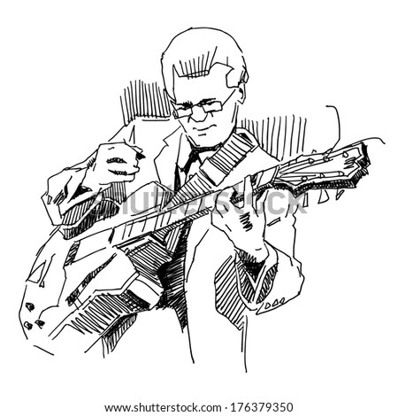 Guitar player musician drawing on white background