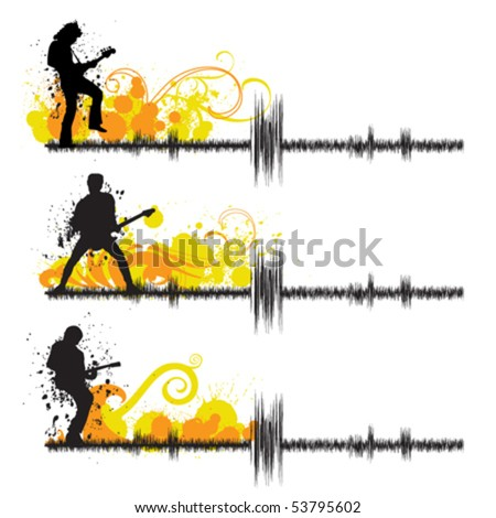 guitar players - stock vector