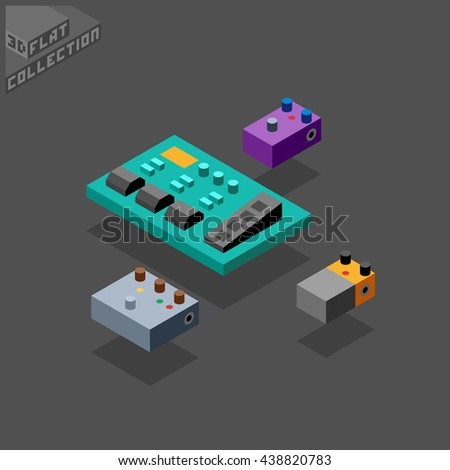 Guitar Processor And Stompboxes Musical Equipment 3D Isometric Low Poly Flat Design Vector