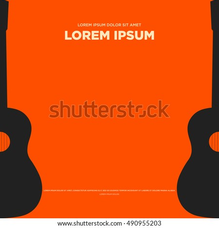 Guitar retro vintage poster abstract background flat design vector illustration
