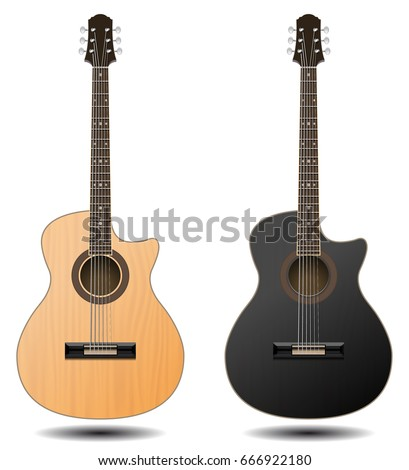 Guitar Set Isolated On White Background Classic For Your Business Project Black And