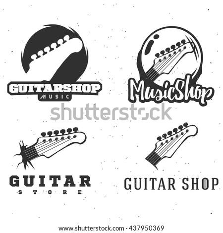 Guitar Emblems Logos Labels Badges Signs Symbols