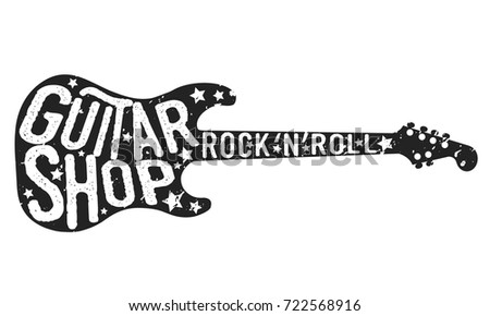 Guitar shop vintage logo black guitar and lettering isolated on white background guitar icon