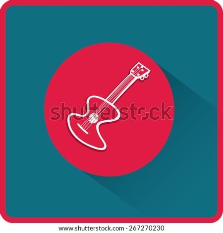 Guitar sign. Flat Vector Icon - stock vector