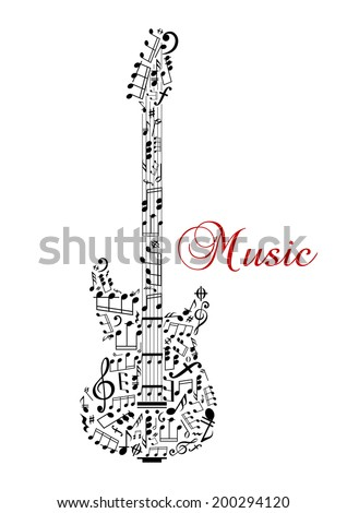 Guitar silhouette with musical notes and word - Music - for any art logo design. Isolated on white background - stock vector