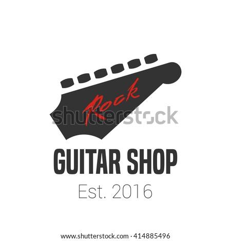 Guitar Store Music Shop Vector Logo Emblem Sign Graphic Illustration Design