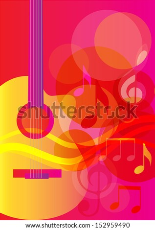 Guitar. Summer song. Melody. Background. Vector illustration  - stock vector