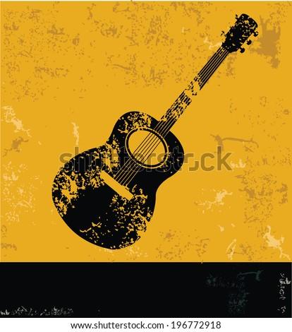guitar symbolgrunge vector stock vector