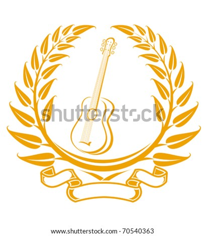Guitar symbol in laurel wreath isolated on white - also as emblem. Jpeg version also available - stock vector