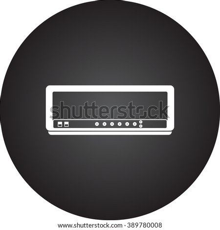 Guitar tube amplifier head simple icon  on round background
