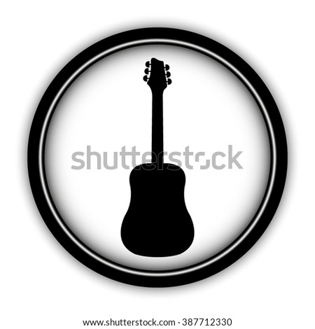 Guitar - vector icon; round  button with shadow