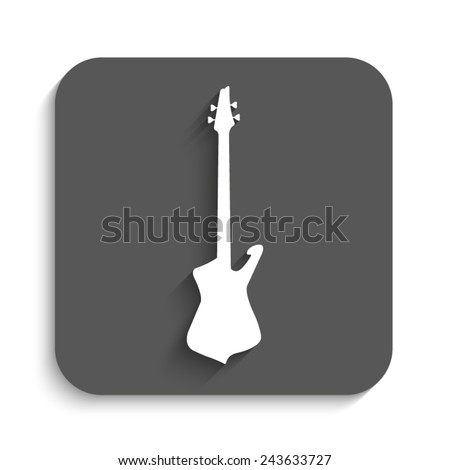 Guitar  - vector icon with shadow on a grey button