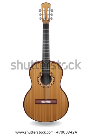 Guitar vector illustration isolated. Classical musical instrument