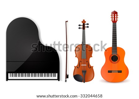Guitar, Violin, Piano. Vector Illustration isolated on white background. - stock vector
