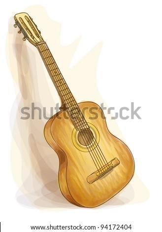 Guitar. Watercolor style. Vector illustration. - stock vector