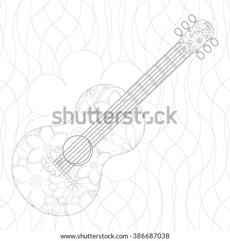 Guitar with flower pattern coloring for adults vector illustration - stock vector