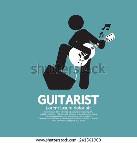 Guitarist Black Symbol Graphic Vector Illustration - stock vector